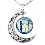 NiceButy Jack Skellington Necklace Pendant Gift, Jack and Sally Nightmare Before Christmas (Blue)