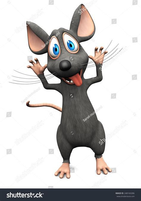 Cute Smiling Cartoon Mouse Sticking His Stock Illustration 248160286   Shutterstock