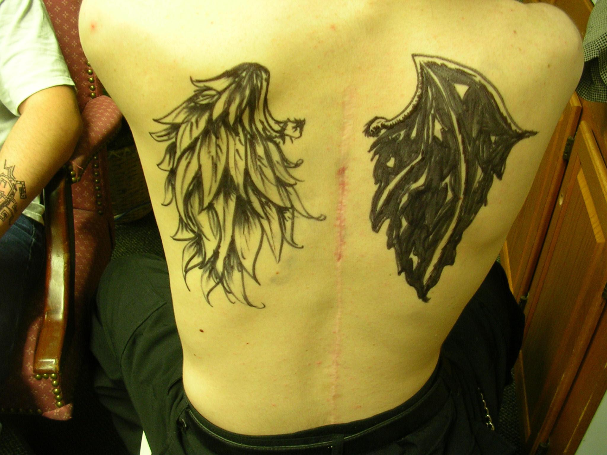 Heja Half Angel Half Demon Tattoo Designs