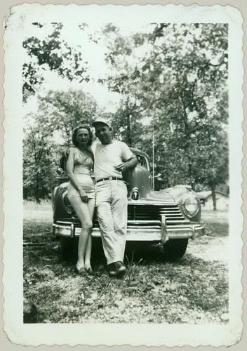 posing at the car 1946 Hudson