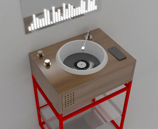 Bathroom Sinks That Look Like Record Players With A Tonearm - Yup That Exists
