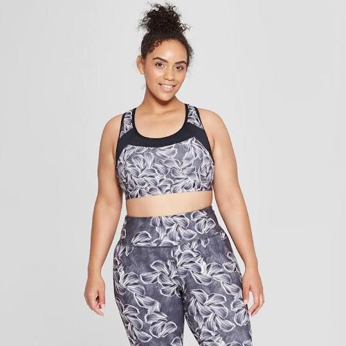 341e28b747 Women s Floral Print Plus Size Strappy Back Sports Bra - C9 Champion  Neutral 2x 53400227