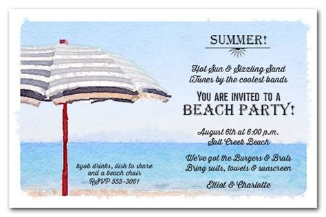 Striped Beach Umbrella Summer Party Invitations