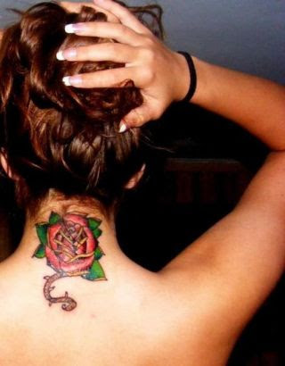 Rose Tattoo Back Of Neck