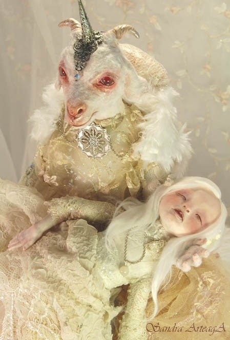 Lillith and Eva  ART DOLL ooak fantasy tale goat fairies fairy  white