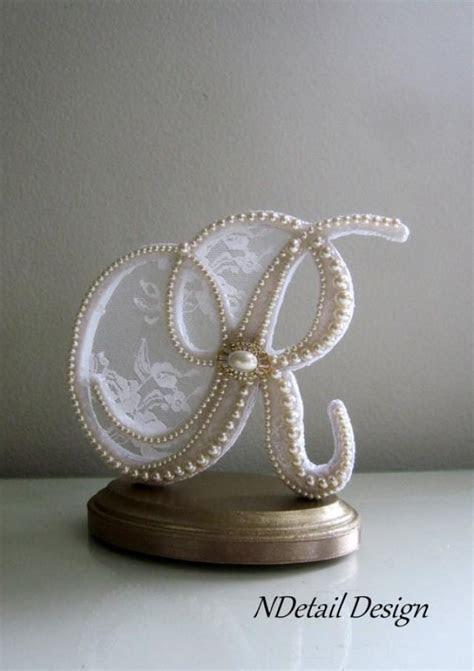 Wedding Cake Topper Custom Letter R Vintage Pearls, White