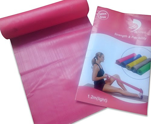 Yoga pilates exercise stretch rubber band + workout instructions 1.2 METRES LIGHT PINK