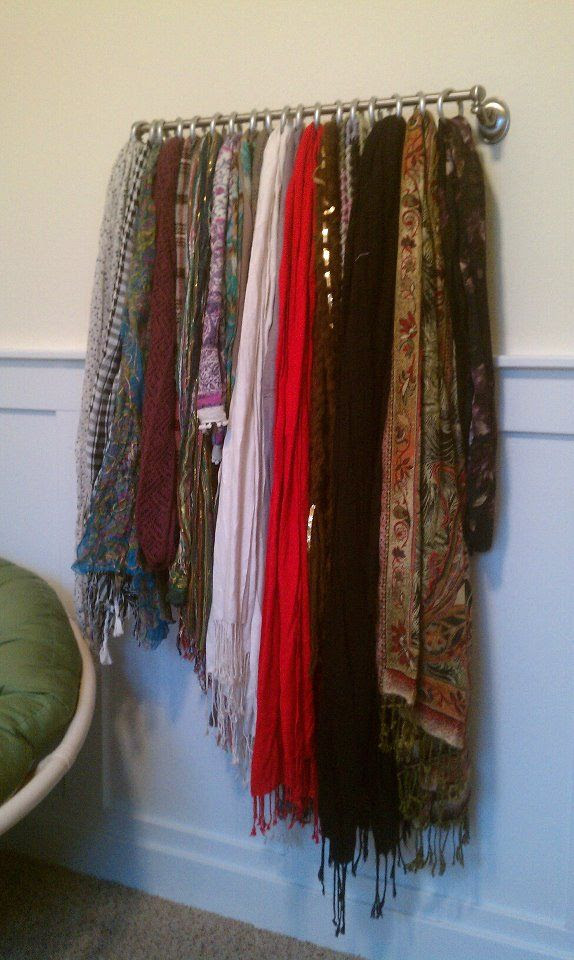 I think this is an idea that I will definitely put into use so I can see all my scarves. it would be so much easier than searching through the dresser drawer! towel bar + shower rings = scarf holder