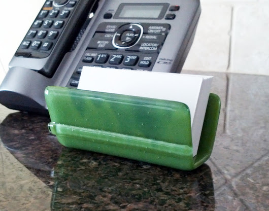 Green Business Card Holder Fused Art Glass by GlitterbirdGlass