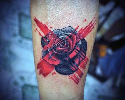 Idéias de tatuagem de homens de rosa vermelha preta
