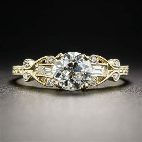 18K .98 Carat European Cut Diamond Vintage Style