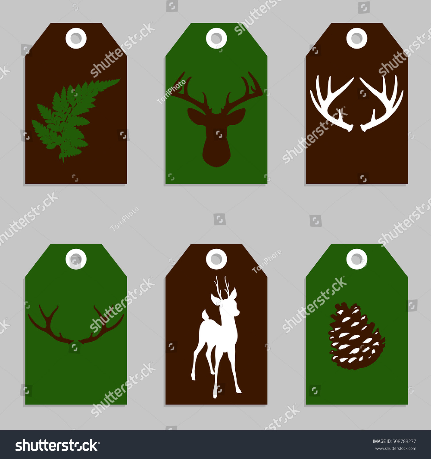 http://www.shutterstock.com/pic-508788277/stock-vector-set-of-green-and-brown-woodland-gift-tags-with-forest-elements-deer-antlers-fern-leaf-and-pine-cone-vector-illustration-eps-8.html