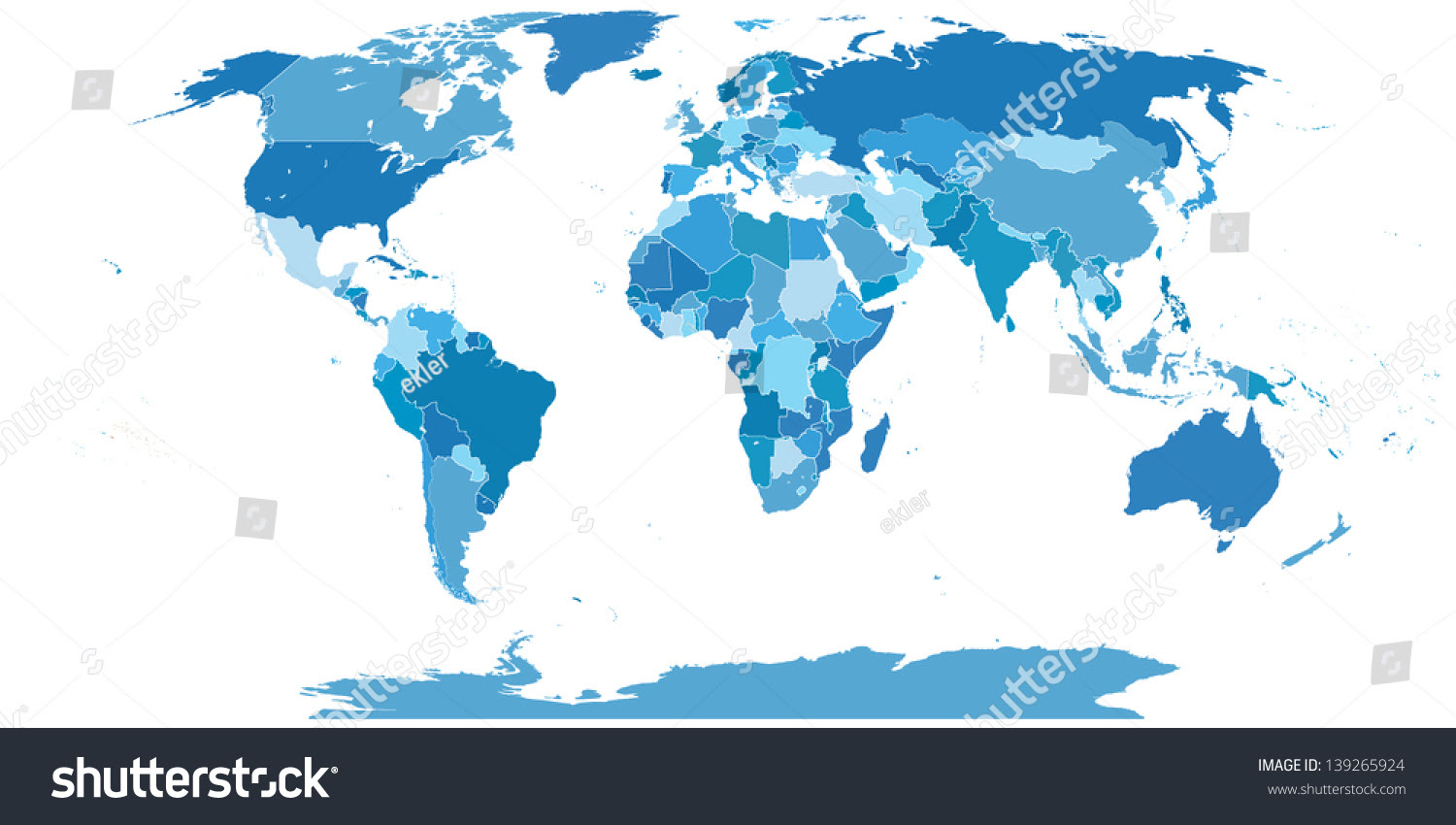High Detail World Map Elements Separated Stock Vector 139265924 ...