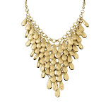 Gold Teardrop Bib Necklace The Countess Collection by LuAnn de Lesseps for SuperJeweler, Women's, Grey Type