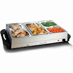 MegaChef Buffet Server & Food Warmer with 4 Removable Sectional Trays , Heated Warming Tray