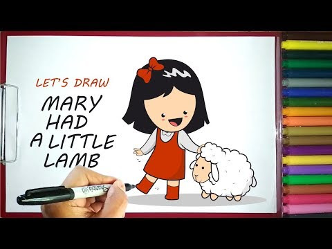 Let's Draw Cute Mary Had a Little Lamb Nursery Rhymes