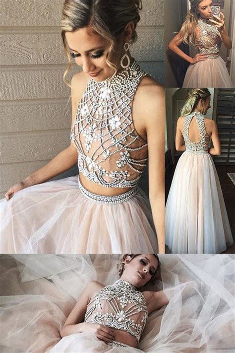 High Neck Prom Dresses,A line Two Piece Tulle Prom Gowns