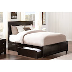 Nantucket Queen Platform Bed with Matching Foot Board with 2 Urban Bed Drawers in Espresso