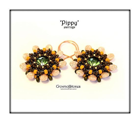 Bead Pattern 'Pip' earrings with Swarovski and Pip beads SPECIAL PRICE