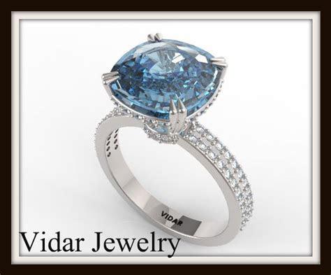 London Blue Topaz And Diamond Engagement Ring   Vidar