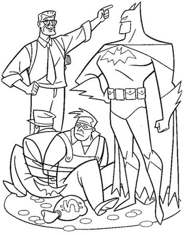 batman caught two thieves coloring page  free printable