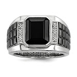 Sterling Silver Men's Square Onyx Ring with Diamonds