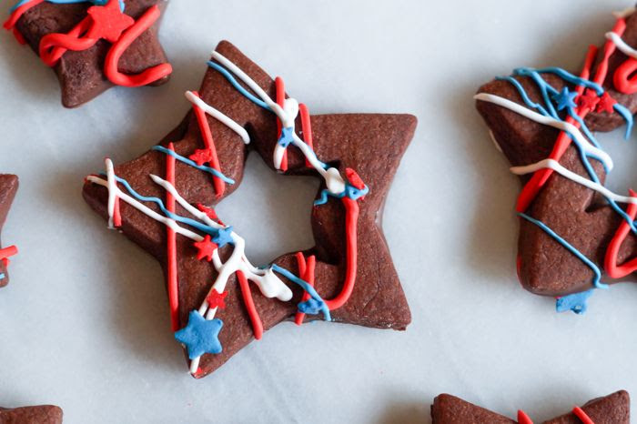 Red, White...and funky...Star Cookies + recipe for chocolate-dipped, chocolate almond cut-outs!