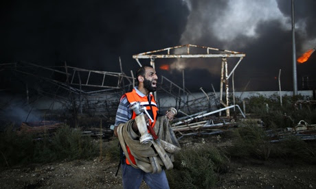 Palestinian firefighter at Gaza power plant