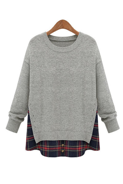 Mock Layer Heather Grey Side Slit Crewneck Red Plaid Shirttail Sweater | Goodnight Macaroon