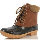 Nature Breeze Women's Faux Leather Faux Fur Cuff Duck Boot