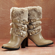 Multi strap Faux Fur Boot By Midnight Velvet