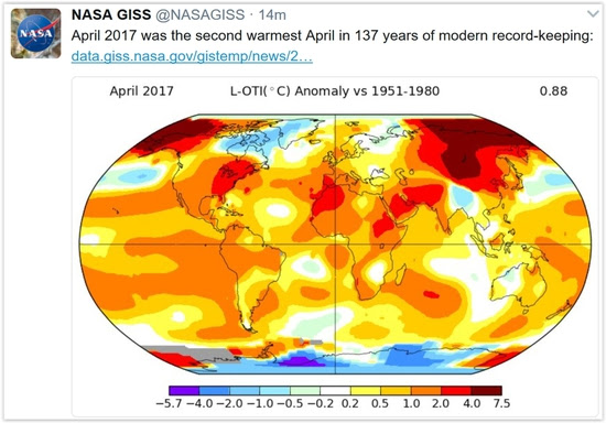 Share International June 2017 images, Global warming map