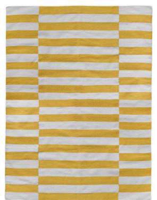 Milk and Sugar Woven Floor Rugs-Broad Stripe Yellow