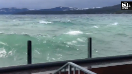 Large waves crash into North Lake Tahoe shore