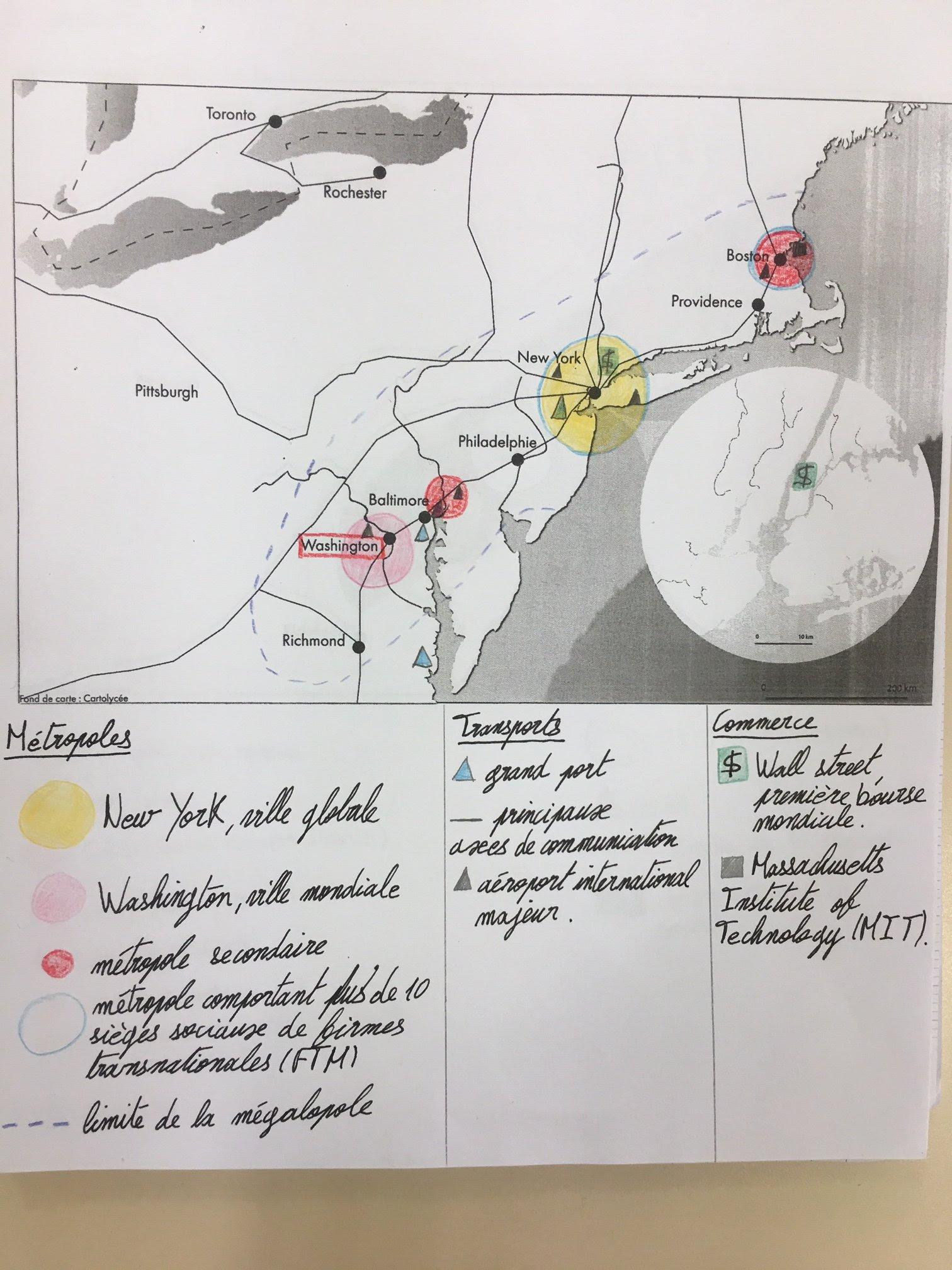 La Mégalopole Du Nord Est Des états Unis Cartolycée
