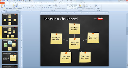 Free Concept Idea Presentation Template for PowerPoint with Post-It in Chalkboard - Free PowerPoint Templates - SlideHunter.com