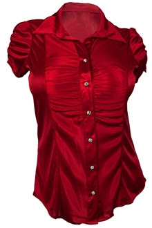 Plus Size Satiny Button Front Dressy Shirt Red