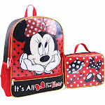 Disney Minnie Mouse Backpack with Detachable Lunch Bag Set
