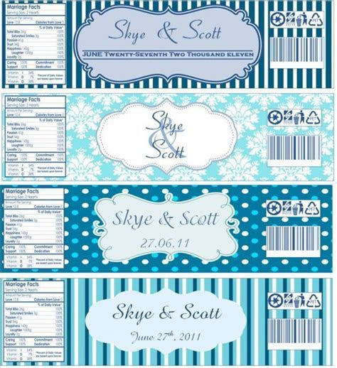 Water bottle labels, now with templates! : wedding blue