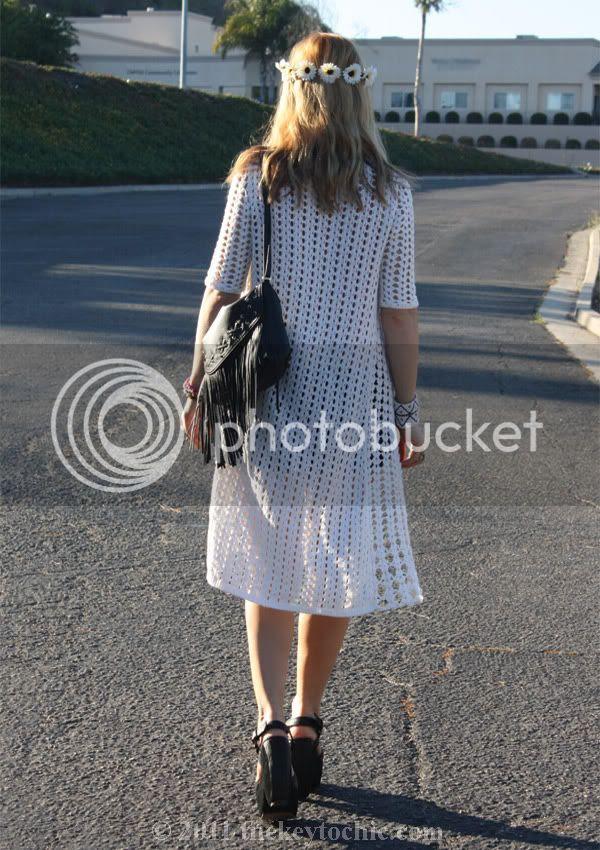 Forever 21 maxi crochet cardigan, H&M fringe handbag
