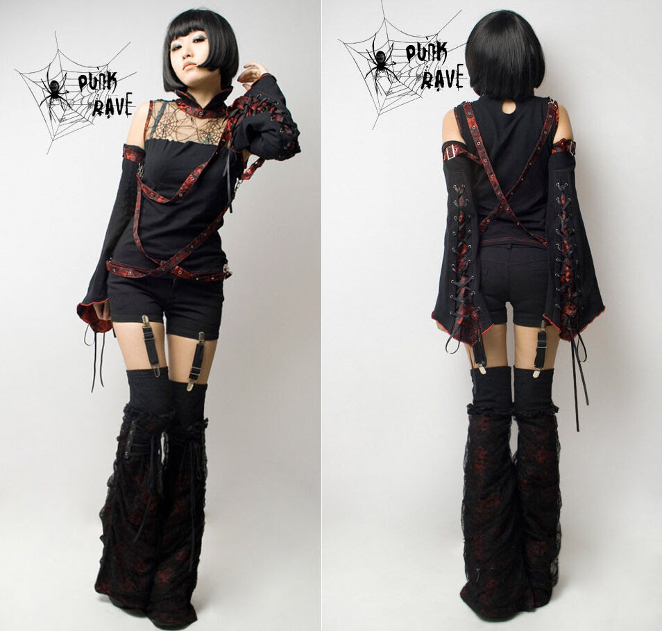 punk rave dragon brocade suspender hotpants punk goth