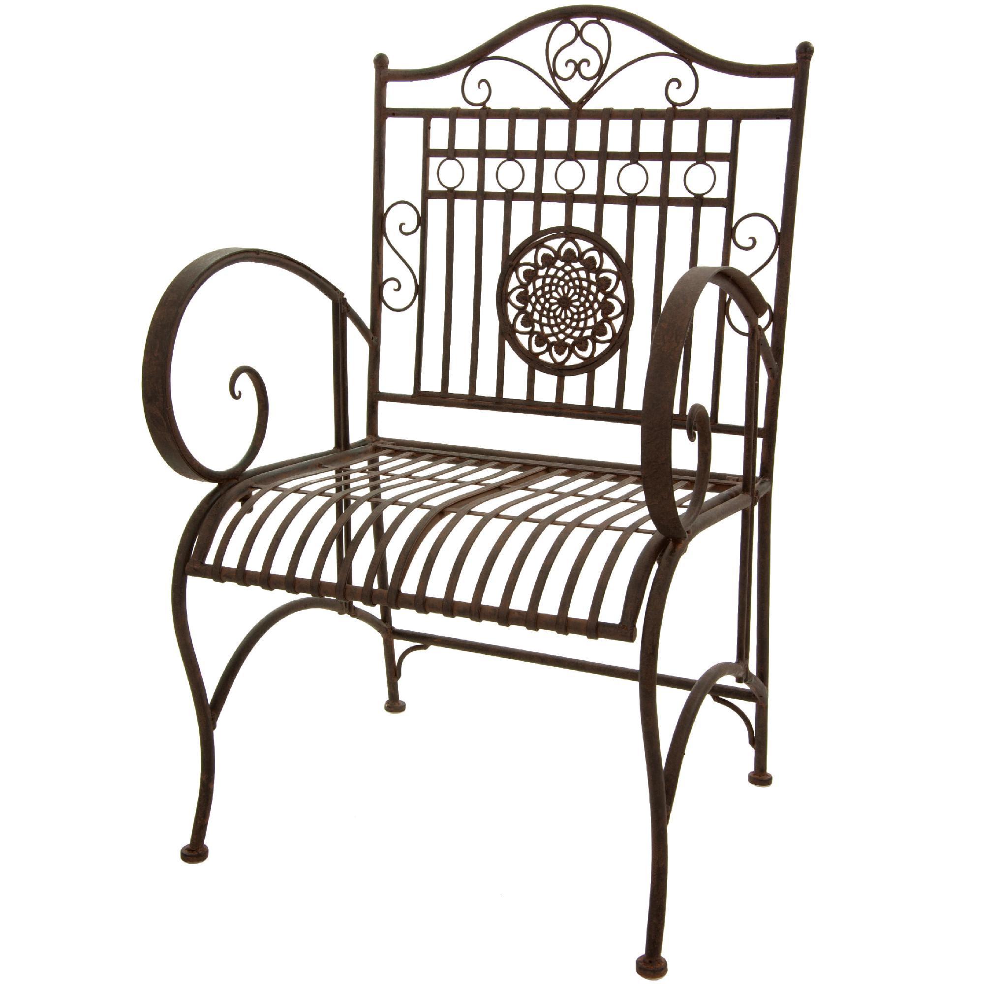 Oriental Furniture Rustic Wrought Iron Garden Chair - Rust ...
