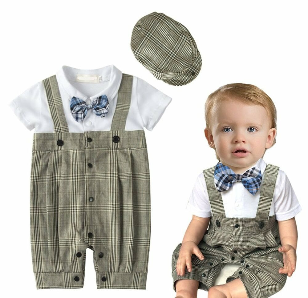 Baby Boy Wedding Christening Formal Tuxedo Suit Outfit Clothes+Hat Set 318M  eBay