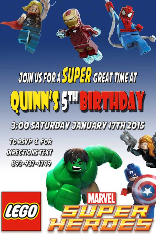 Lego Marvel Birthday Party Invitation by VerticalChallangeMoM