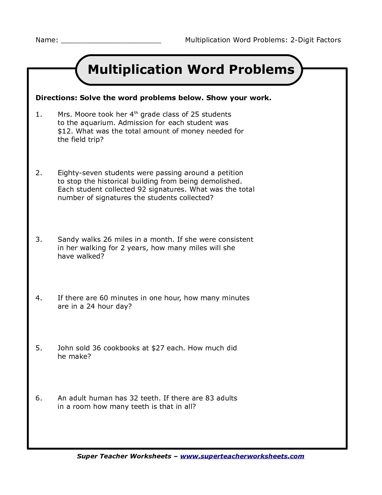 4th grade multiplication word problems_109246