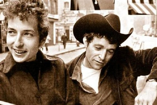"Music History on Twitter: ""Bob Dylan meeting his idol Woody Guthrie. """