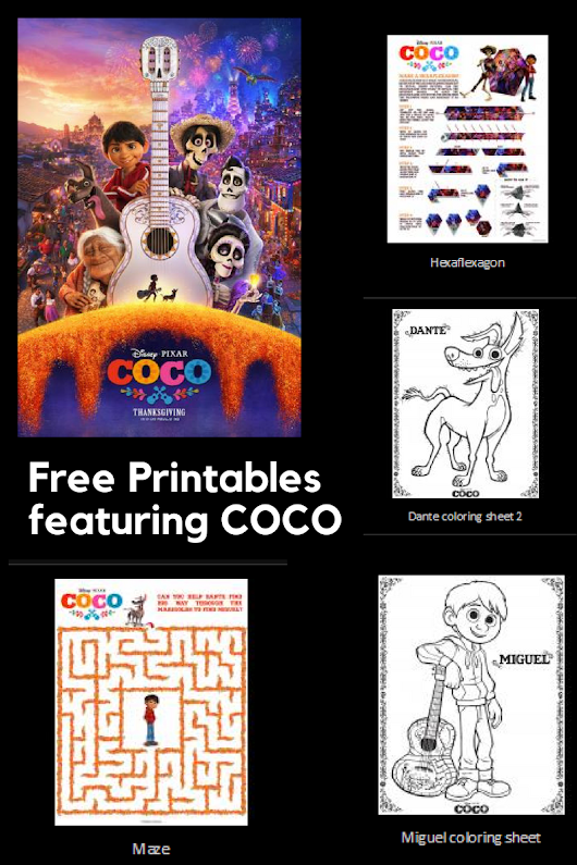 Free printable activities featuring COCO