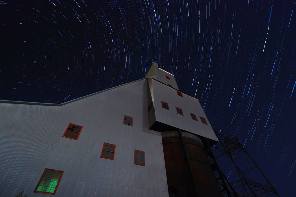 Star trails over the Quincy Mine #2 shaft-rockhouse