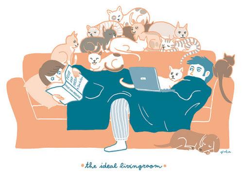 The ideal livingroom / Descanso dominical: lectura en compañía (ilustración de Giulia Sagramola)