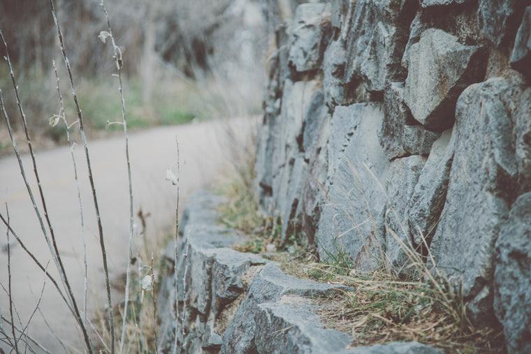 Photo of stone wall along path